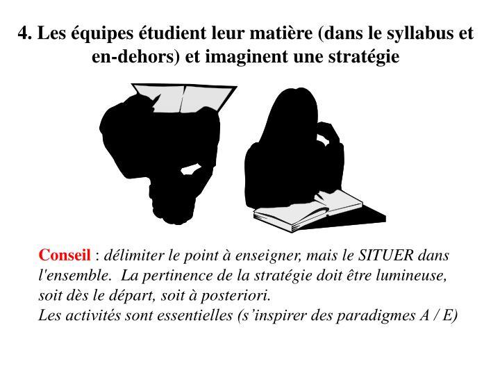 4. Les équipes étudient leur matière (dans le syllabus et en-dehors) et imaginent une stratégie