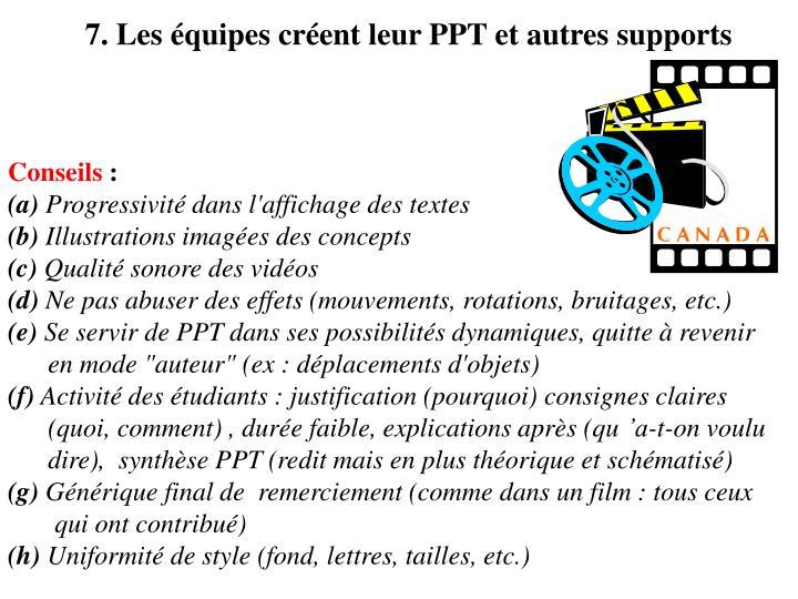 7. Les équipes créent leur PPT et autres supports