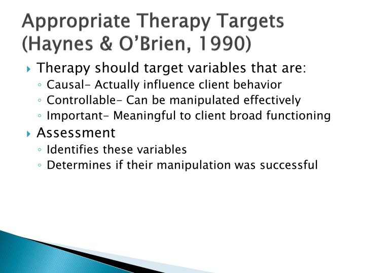 Appropriate Therapy Targets
