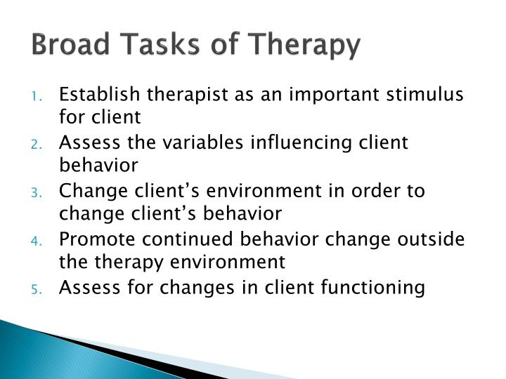 Broad Tasks of Therapy