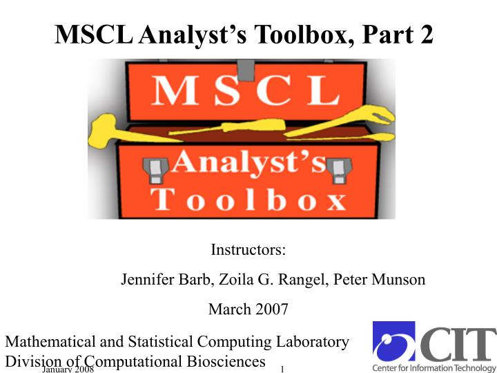 Mscl analyst s toolbox part 2