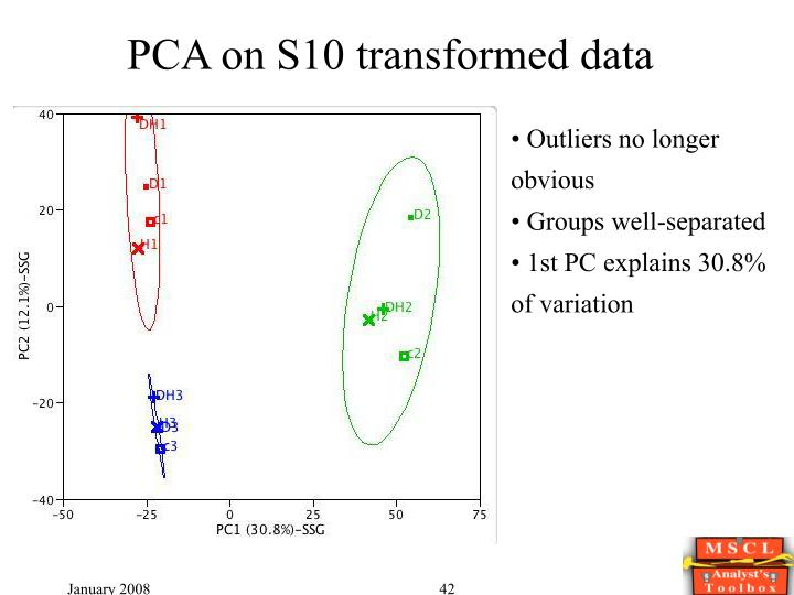 PCA on S10 transformed data