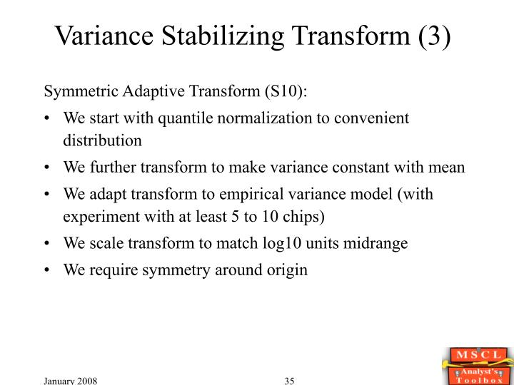 Variance Stabilizing Transform (3)