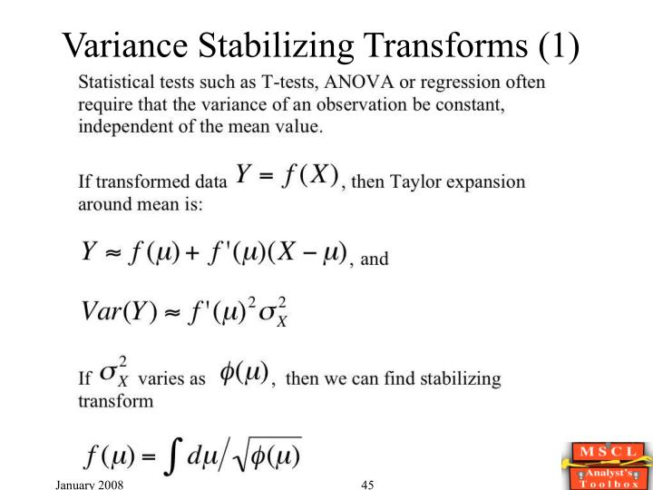 Variance Stabilizing Transforms (1)