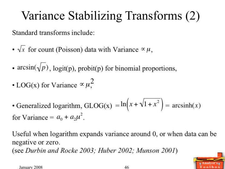 Variance Stabilizing Transforms (2)