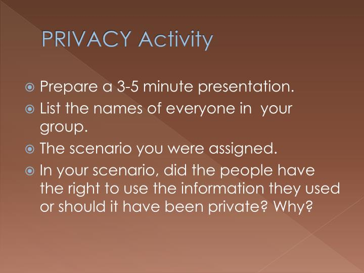 PRIVACY Activity