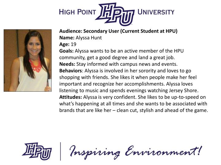 Audience: Secondary User (Current Student at HPU)