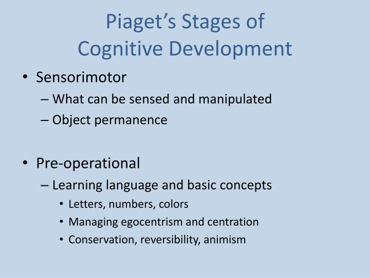 an implementation of piagets stage theory of cognitive development on the pre operational children The preoperational stage is the second stage in piaget's theory of cognitive development this stage begins around age 2, as children start to talk, and lasts until approximately age 7 this stage begins around age 2, as children start to talk, and lasts until approximately age 7.