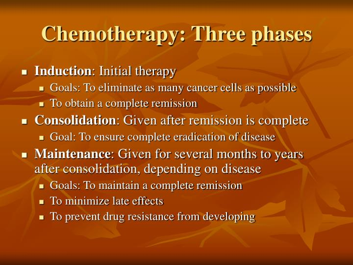 Chemotherapy: Three phases