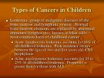 types of cancers in children