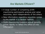 are markets efficient
