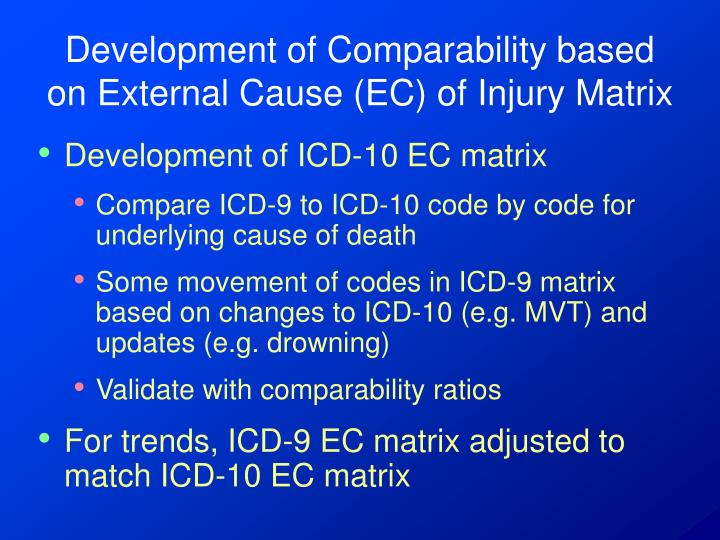 Development of Comparability based on External Cause (EC) of Injury Matrix