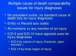 multiple cause of death comparability issues for injury diagnoses