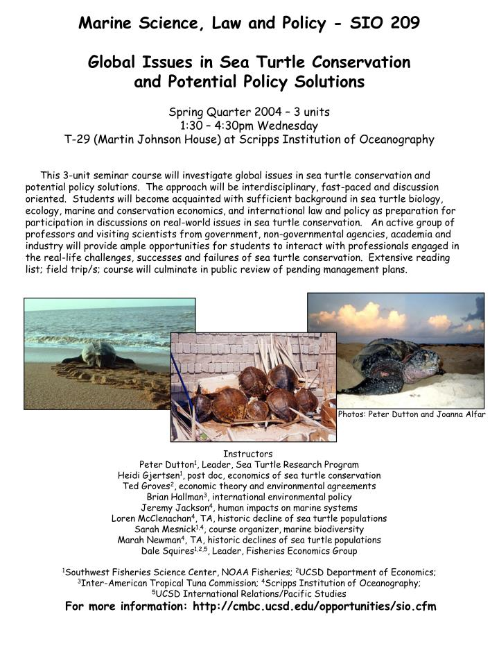 Marine Science, Law and Policy - SIO 209