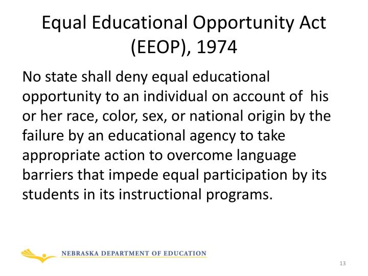 Equal Educational Opportunity Act (EEOP), 1974