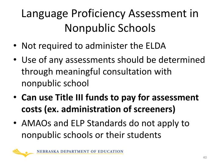 Language Proficiency Assessment in Nonpublic Schools
