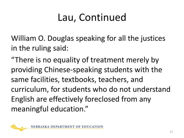 Lau, Continued