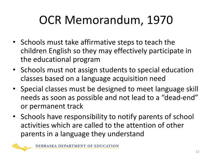 OCR Memorandum, 1970