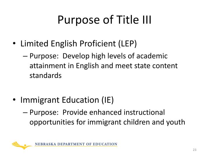 Purpose of Title III
