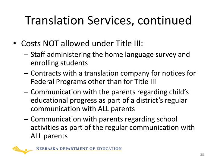 Translation Services, continued