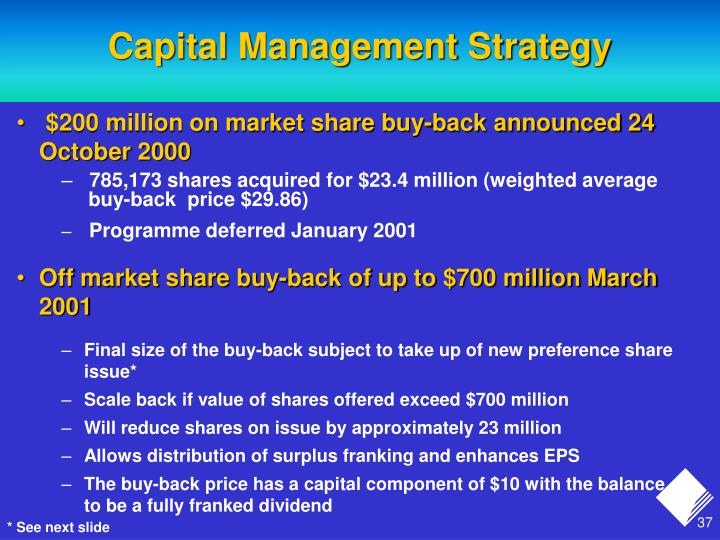 Capital Management Strategy
