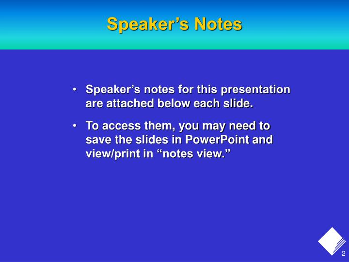 Speaker s notes