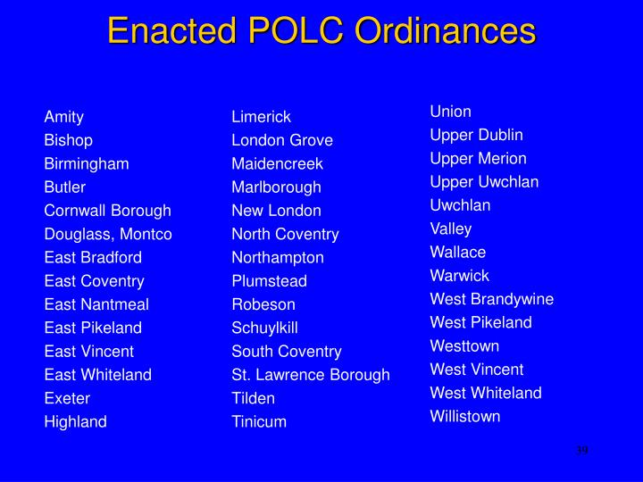 Enacted POLC Ordinances