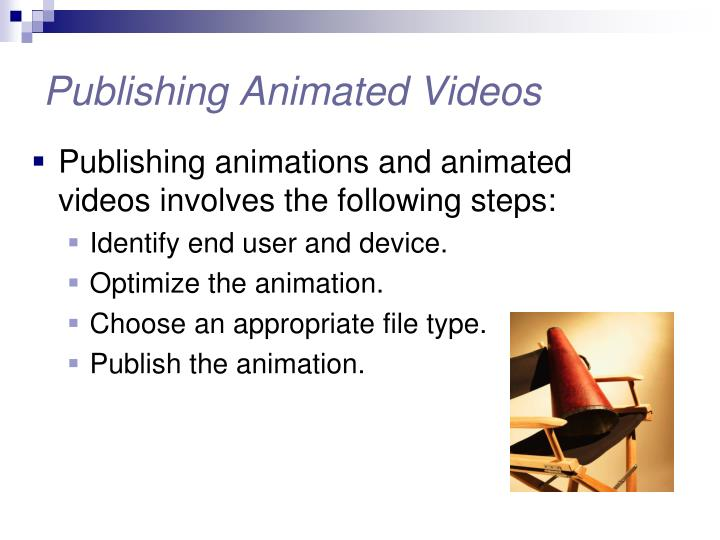Publishing animated videos