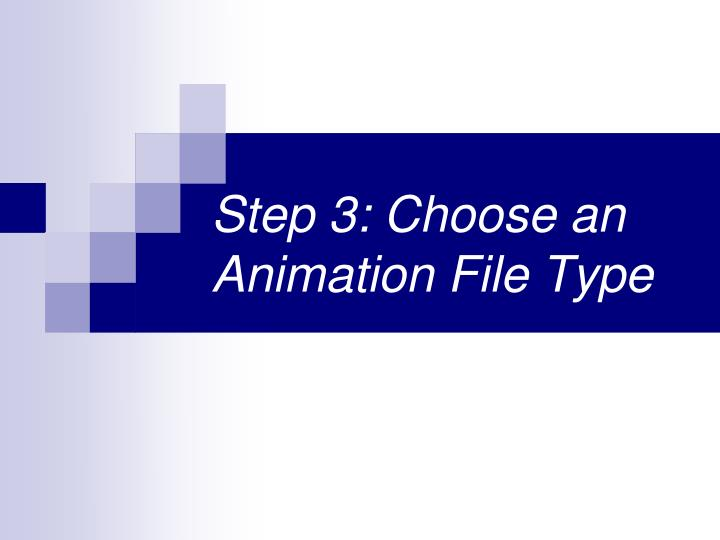 Step 3: Choose an Animation File Type