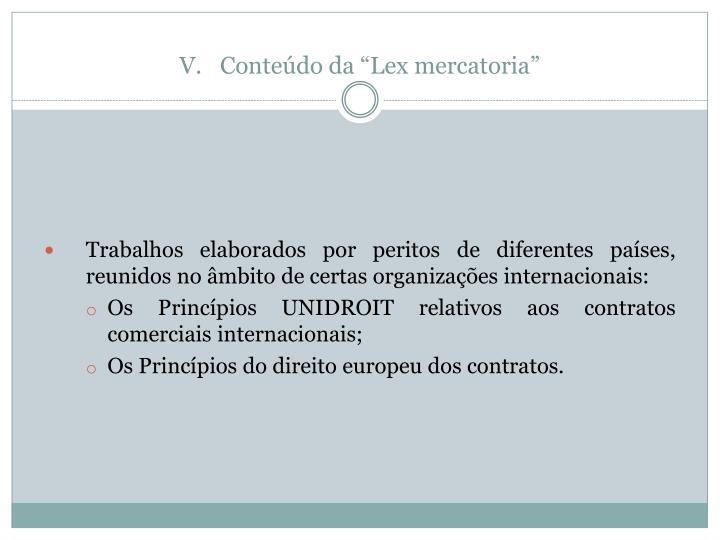 "Conteúdo da ""Lex mercatoria"""