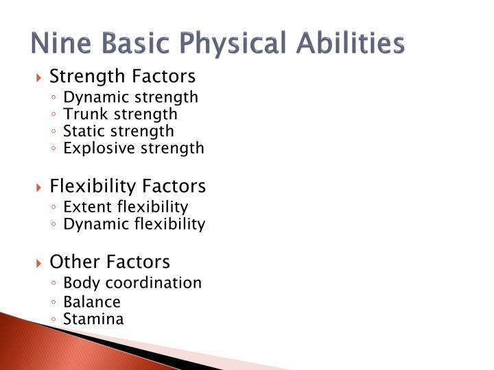 Nine Basic Physical Abilities
