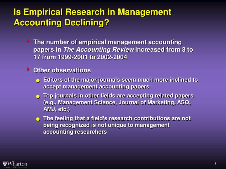 Is empirical research in management accounting declining1