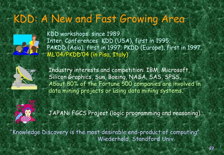 KDD: A New and Fast Growing Area