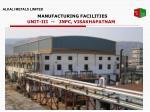 manufacturing facilities unit iii jnpc visakhapatnam
