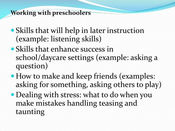 Working with preschoolers