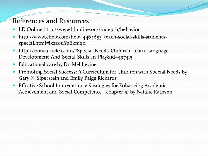References and Resources: