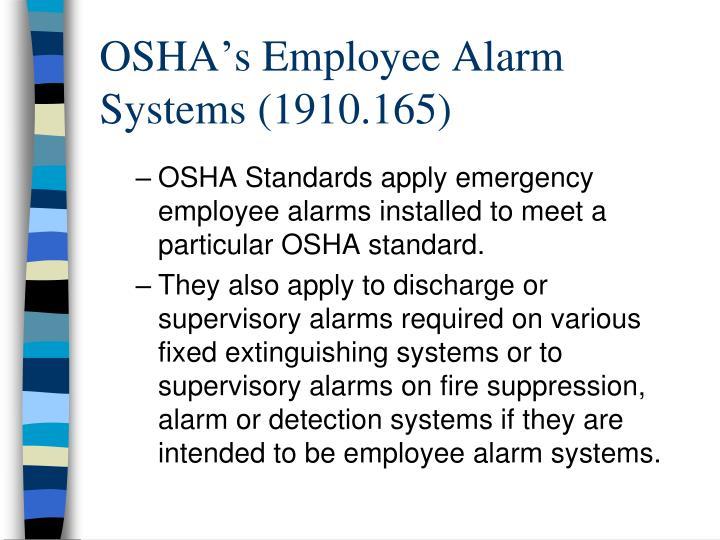 OSHA's Employee Alarm Systems (1910.165)