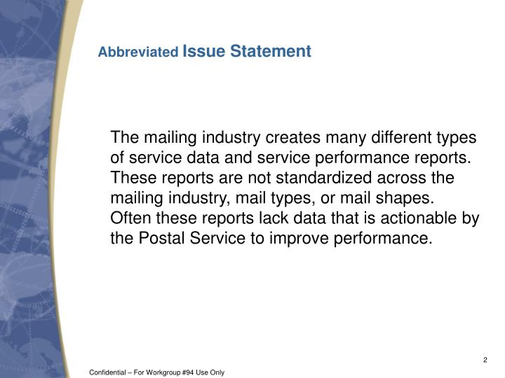 Abbreviated issue statement