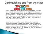 distinguishing one from the other