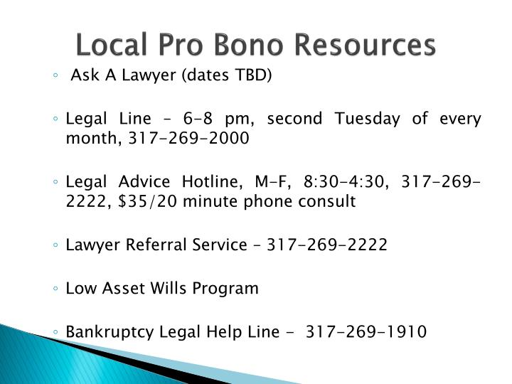 Local Pro Bono Resources