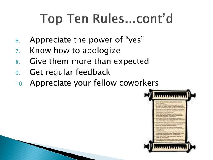 Top Ten Rules...cont'd