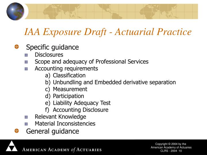IAA Exposure Draft - Actuarial Practice