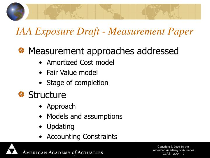 IAA Exposure Draft - Measurement Paper