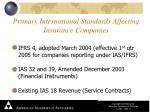 primary international standards affecting insurance companies