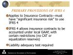 primary provisions of ifrs 4