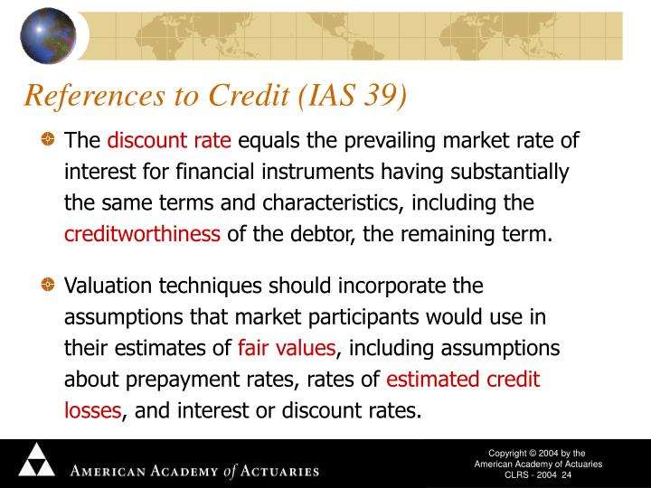 References to Credit (IAS 39)