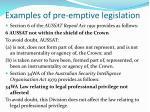 examples of pre emptive legislation