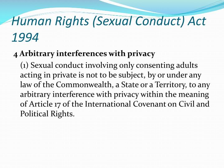 Human Rights (Sexual Conduct) Act 1994