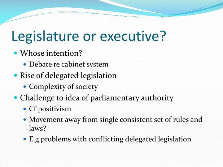 Legislature or executive?