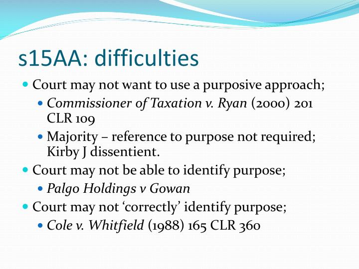 s15AA: difficulties